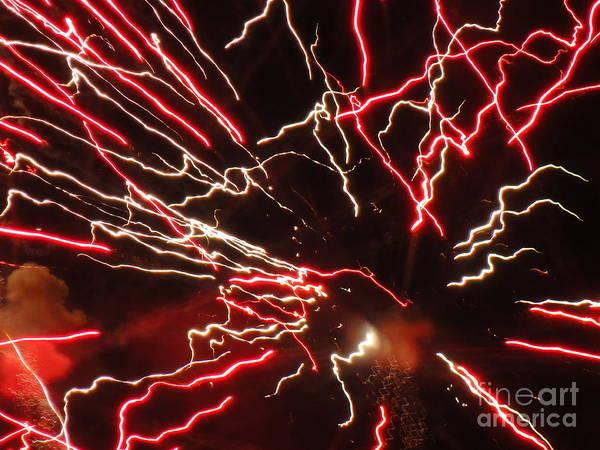 Wall Art - Photograph - Electric City Fireworks 2013 X by Daniel Henning