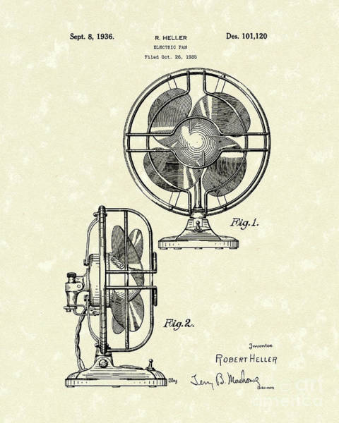 Wall Art - Drawing - Electric Fan 1936 Patent Art by Prior Art Design