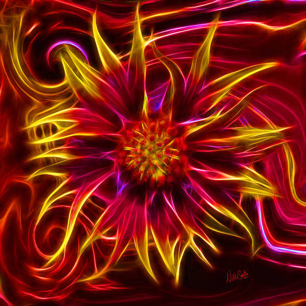 Neon Lights Digital Art - Electric Firewheel Flower Artwork by Nikki Marie Smith
