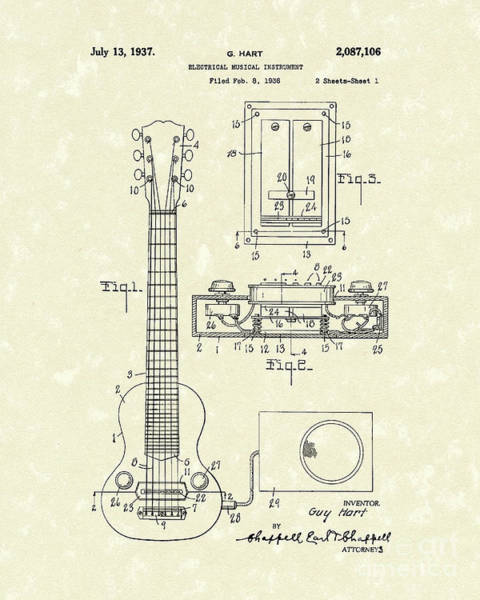 Drawing - Electric Guitar 1937 Patent Art by Prior Art Design