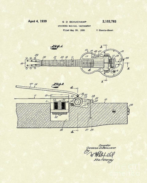 Drawing - Electric Guitar 1939 Patent Art by Prior Art Design