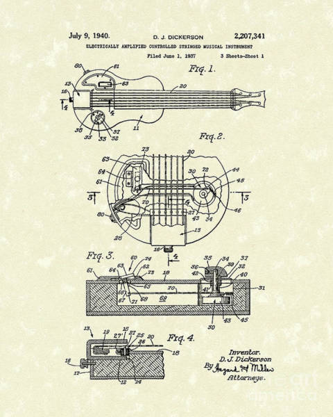Drawing - Electric Guitar 1940 Patent Art by Prior Art Design