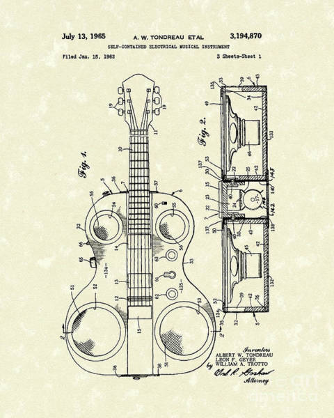 Drawing - Electric Guitar 1965 Patent Art by Prior Art Design