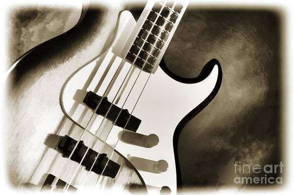 Painting - Electric Guitar Painting In Black And White Sepia 3320.01 by M K Miller