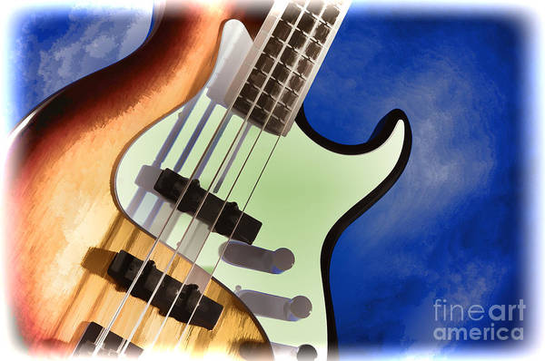 Painting - Electric Guitar Painting In Colors Blue Brown 3320.02 by M K Miller