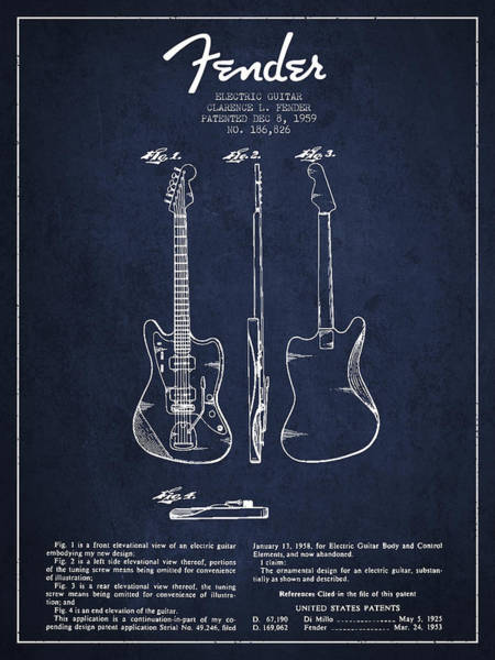 Wall Art - Digital Art - Electric Guitar Patent Drawing From 1959 by Aged Pixel