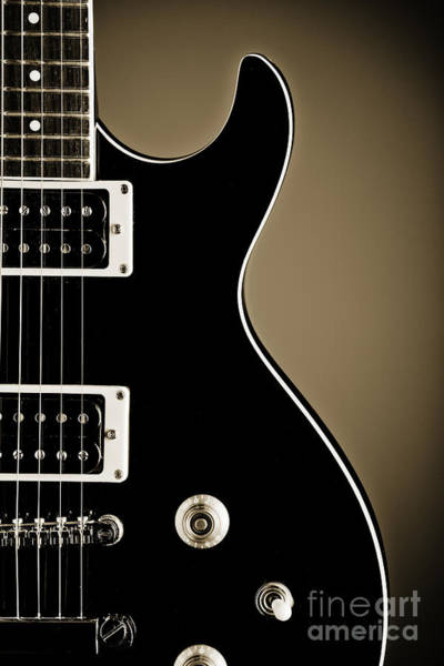 Electric Guitar Photograph In Black And White Sepia 3319.01 Art Print
