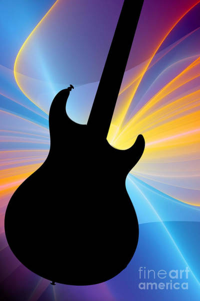 Photograph - Electric Guitar Silhouette Photograph In Color 3317.02 by M K Miller