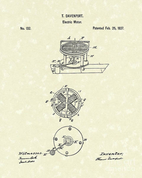 Drawing - Electric Motor 1837 Patent Art by Prior Art Design