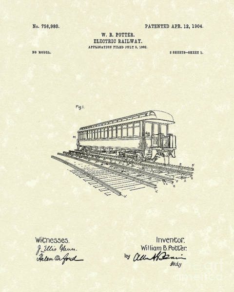 Wall Art - Drawing - Electric Railway 1904 Patent Art by Prior Art Design