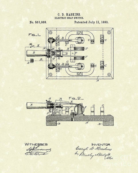 Drawing - Electric Switch 1893 Patent Art by Prior Art Design