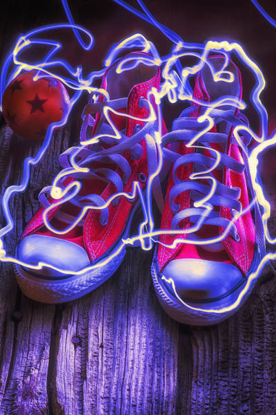 Wooden Shoe Photograph - Electric Tennis Shoes  by Garry Gay
