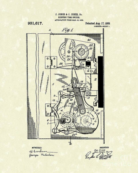 Wall Art - Drawing - Electric Time Switch 1909 Patent Art by Prior Art Design