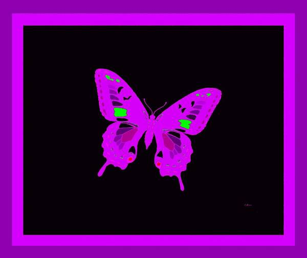 Butterfly On Flower Digital Art - Electric Violet Butterfly by L Brown