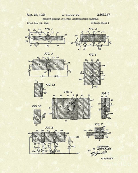 Drawing - Electrical Circuit 1951 Patent Art by Prior Art Design