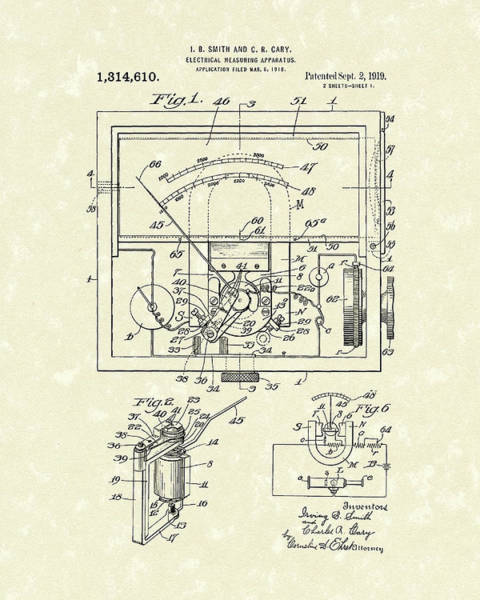 Wall Art - Drawing - Electrical Meter 1919 Patent Art by Prior Art Design