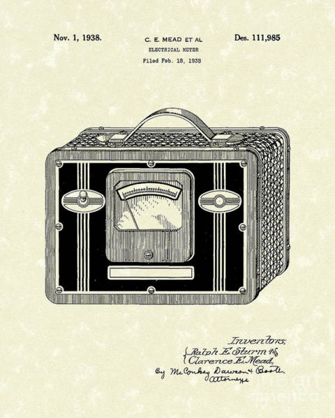 Drawing - Electrical Meter 1938 Patent Art by Prior Art Design