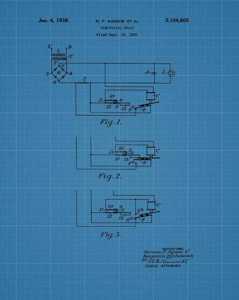 Battery D Wall Art - Digital Art - Electrical Relay Blueprint Patent by Dan Sproul