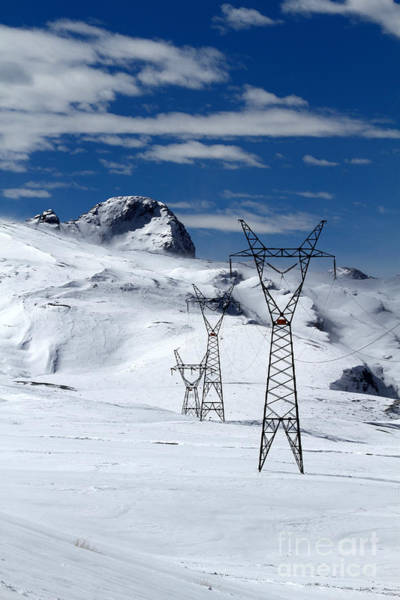 Photograph - Electricity Pylons In The Snow by James Brunker