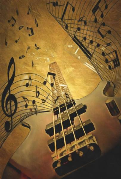 Musical Theme Painting - Electrifying Guitar  by L Wright