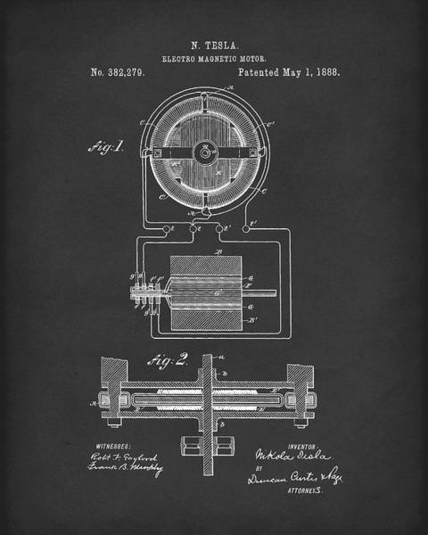 Wall Art - Drawing - Electro Magnetic Motor Tesla 1888 Patent Art Black by Prior Art Design