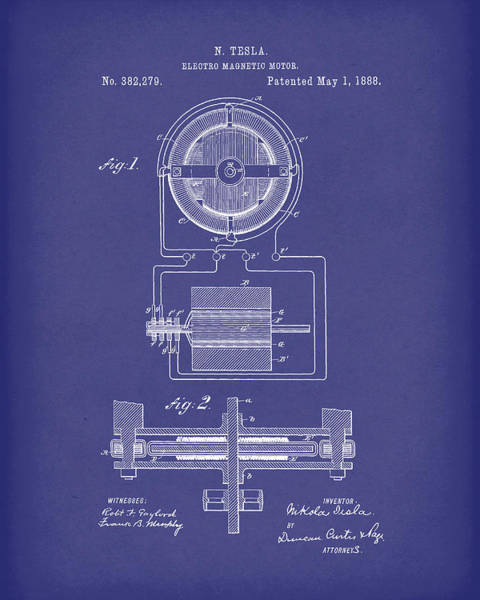 Wall Art - Drawing - Electro Magnetic Motor Tesla 1888 Patent Art Blue by Prior Art Design