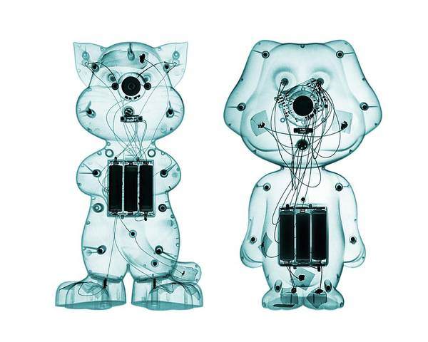 X-ray Photograph - Electronic Toys by Brendan Fitzpatrick