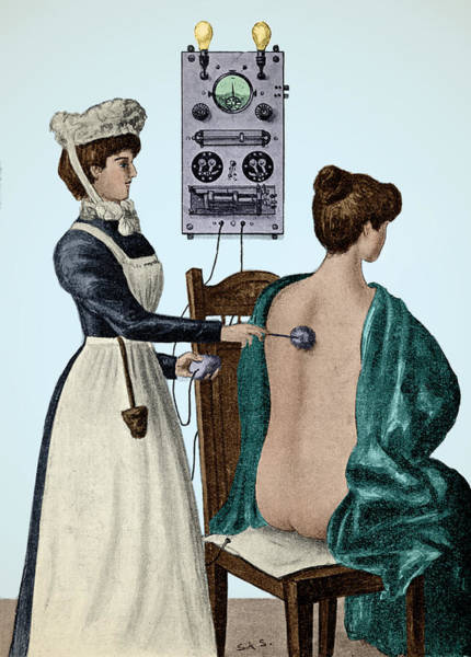 Photograph - Electrotherapy, Faradization, 1900 by Wellcome Images