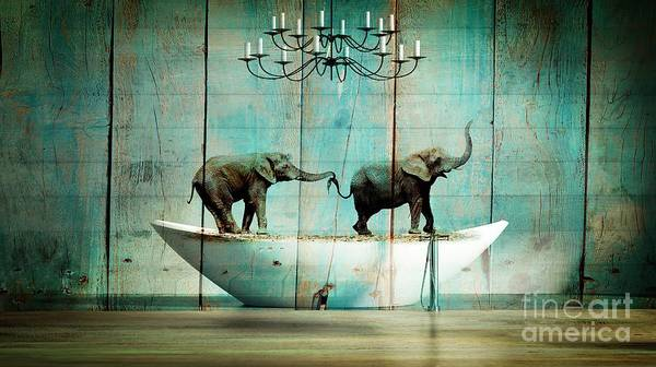 Wall Art - Digital Art - Elefantos by Aimelle