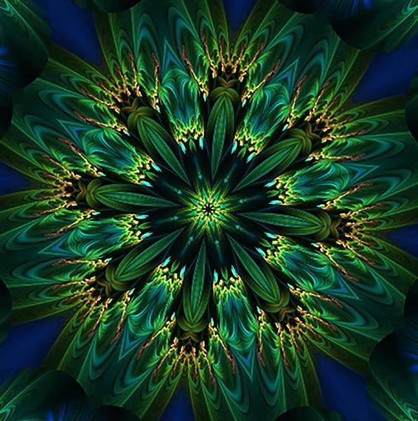 Digital Art - Elegance Green Kaleidoscope by Barbara A Lane