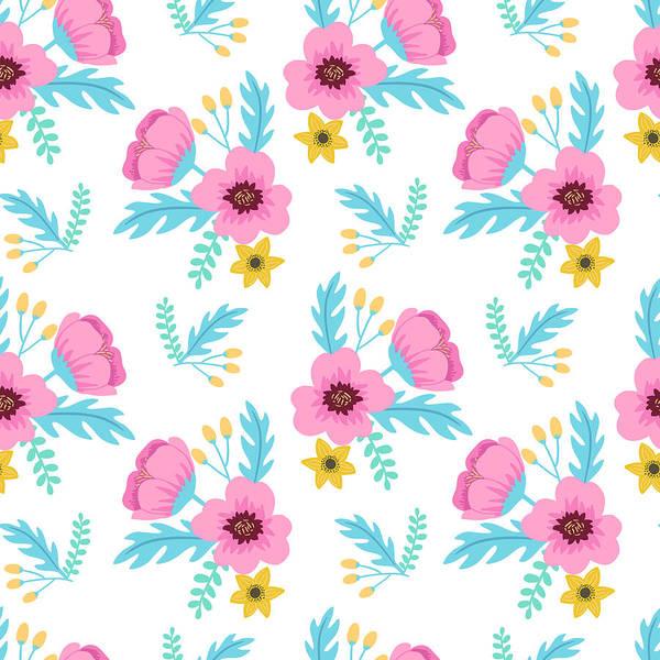 Poppies Digital Art - Elegant Colorful Seamless Floral by Ekaterina Bedoeva