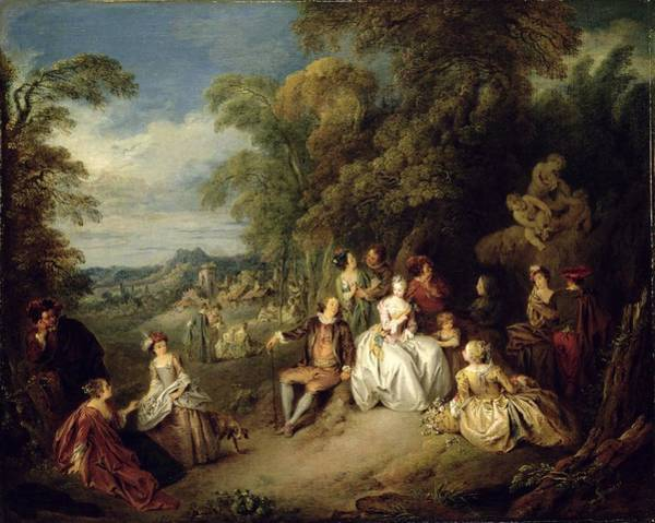 Fete Wall Art - Painting - Elegant Company In A Park by Jean-Baptiste Joseph Pater