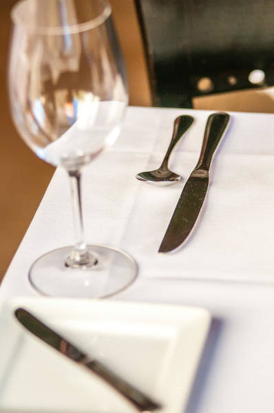 Photograph - Elegant Dinner Table Set With Knife Fork And Wine Glass by Alex Grichenko