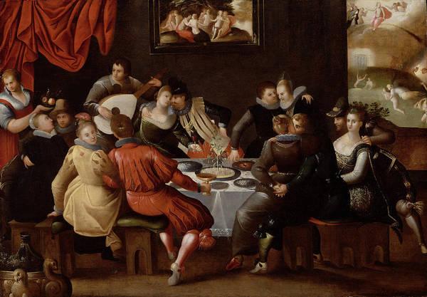 Feast Painting - Elegant Figures Feasting And Disporting by Hieronymus II Francken