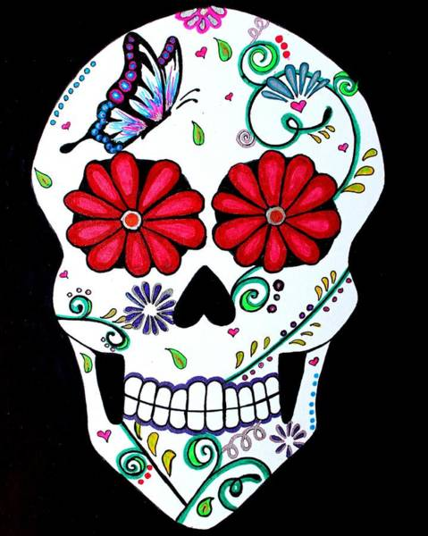 Skulls Wall Art - Drawing - Elegant Muerte by Brandy Nicole Neal Stenstrom