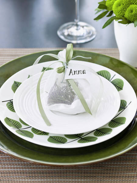 Setting Photograph - Elegant Place Setting With Name Tag by Johner Images