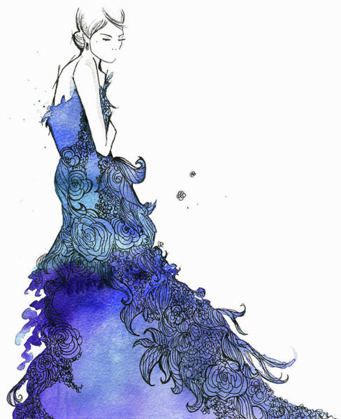 Evening Wear Digital Art - Elegant Woman Wearing Flowing Blue by Jessica Durrant