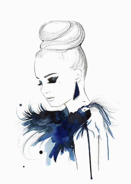 Eyelashes Wall Art - Digital Art - Elegant Woman Wearing Hair Bun And by Jessica Durrant