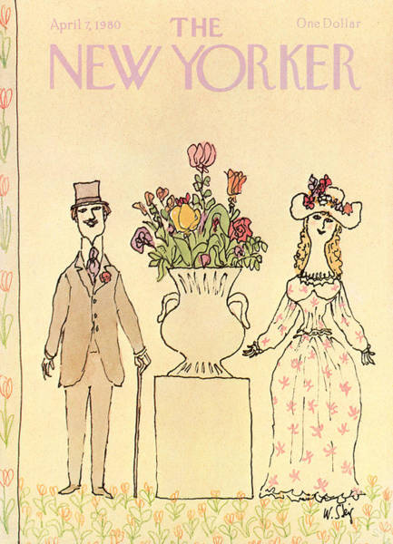 Dress Painting - Elegantly Dressed Man And Woman Standing Next by William Steig