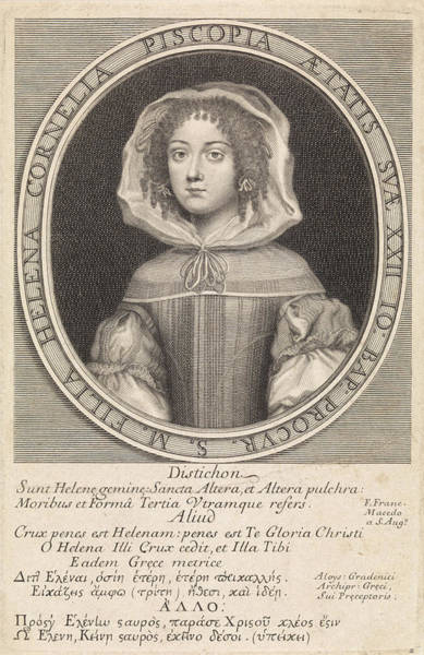 Wall Art - Drawing - Elena Lucrezia Cornaro Piscopia Portrait by Pieter Van Schuppen And Pierre Lombard And Luigi Gradenigo