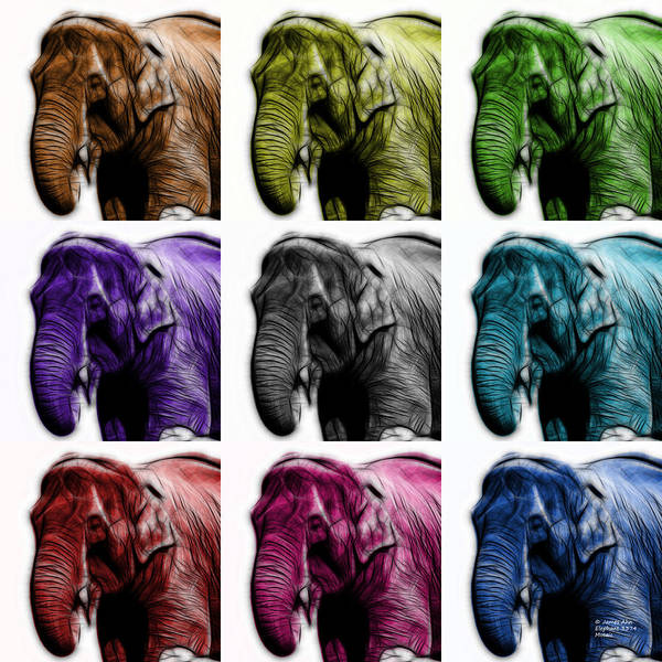 Digital Art - Elephant 3374 - Mosaic - Wb by James Ahn