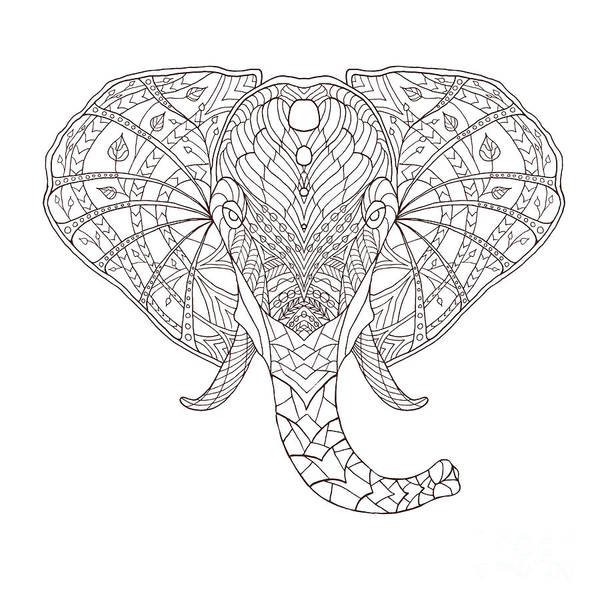 African Tribal Digital Art - Elephant. Black And White Hand Drawn by Fosin