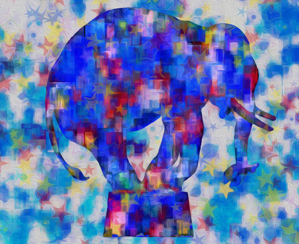Computer Graphics Painting - Elephant Blues by Jack Zulli