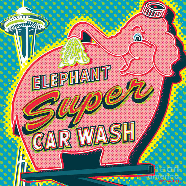 Seattle Digital Art - Elephant Car Wash And Space Needle - Seattle by Jim Zahniser
