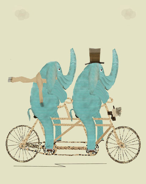 Bicycle Painting - Elephant Days Lets Tandem by Bri Buckley
