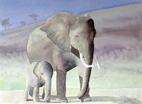 Painting - Elephant Family by Laurel Best