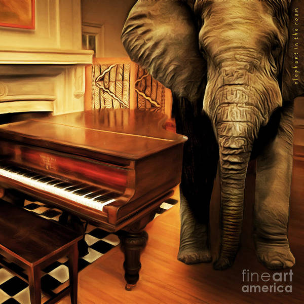 Humor In Art And Photograph - Elephant In The Room 20141225 Square by Wingsdomain Art and Photography