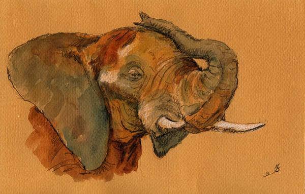 Bath Painting - Elephant by Juan  Bosco