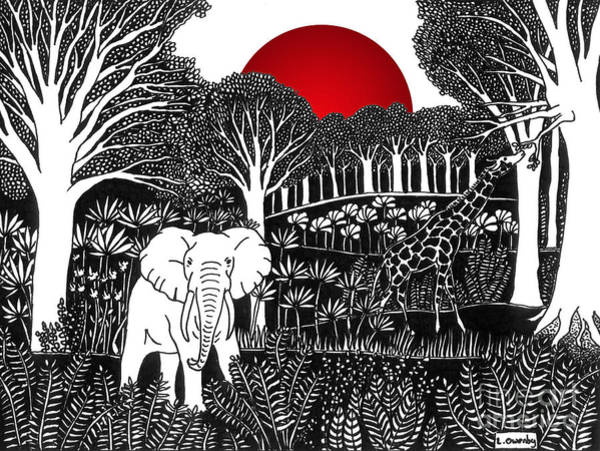 Drawing - Elephant Jungle by Lee Owenby