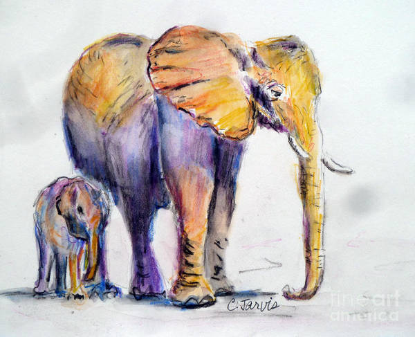Painting - Elephant Mom by Carolyn Jarvis
